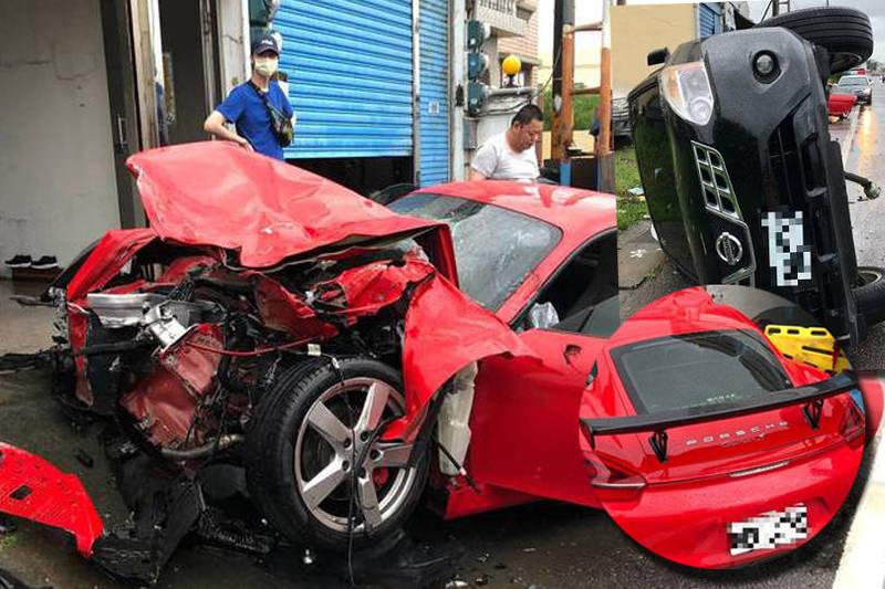 一輛保時捷跑車,不明原因衝撞路邊停放車輛,車上男女都重傷送醫。(本報合成)