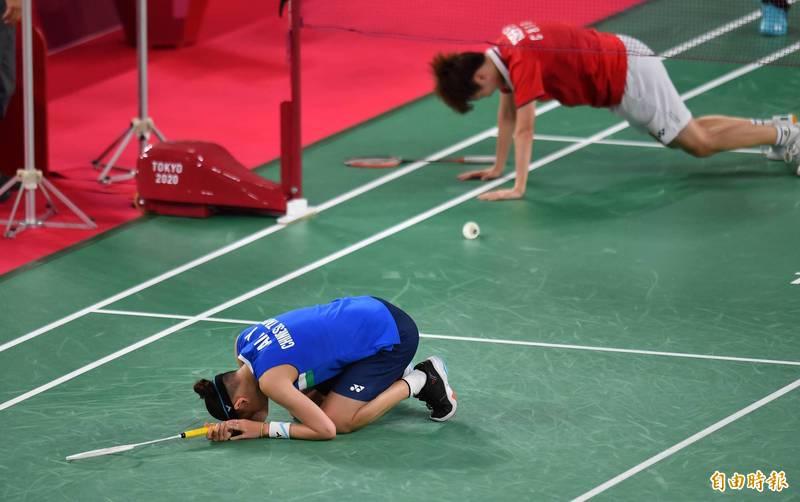 球后戴資穎1日在東京奧運羽球女單決賽與中國好手陳雨菲打滿三局後惜敗,獲得銀牌。(特派記者林正堃攝)