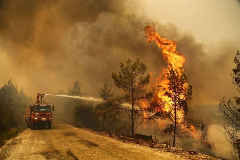 有土耳其官員今日表示,目前已控制住超過100場火災。圖為安塔利亞省消防員正試圖控制火勢。(路透)