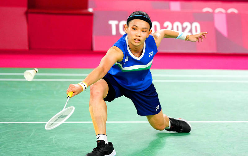 Taiwan's Tai Tzu-ying returns during the women's singles final match against Chen Yufei of China at the Musashino Forest Sports Plaza in Tokyo yesterday. Photo: EPA-EFE