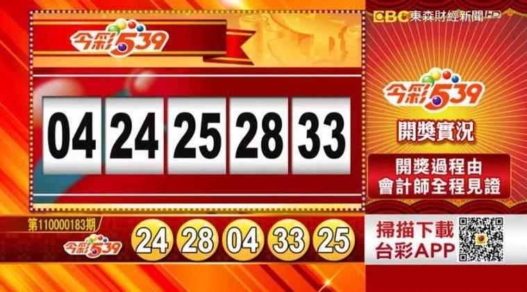 今彩539、39樂合彩開獎號碼。(擷取自東森財經新聞57彩券王)