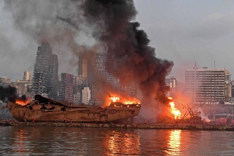 黎巴嫩首都貝魯特港口去年8月4日發生大爆炸,造成至少200人死亡。(資料照,法新社)