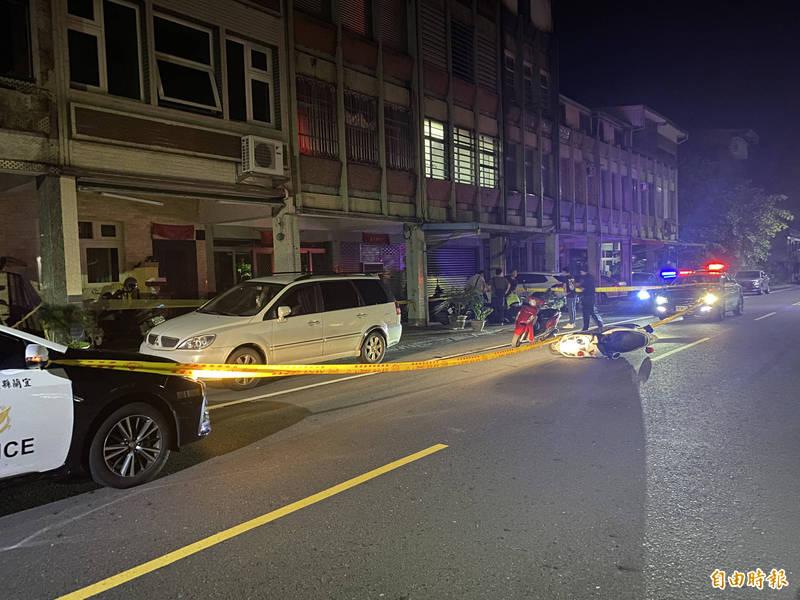 宜蘭縣頭城鎮發生槍擊案,一警中彈送醫。(記者蔡昀容攝)