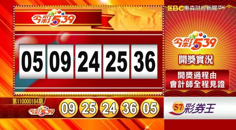 今彩539、39樂合彩開獎號碼。(圖擷取自57彩券王)