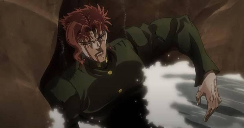 《JOJO的奇妙冒險》第二季動畫「星塵遠征軍」中角色「花京院典明」與反派對戰後,身體被打出了一個洞。(圖取自YouTube頻道「Muse木棉花-TW」)