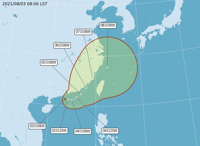 「盧碧」颱風即將生成,預估將穿越台灣海峽。(圖擷自中央氣象局)