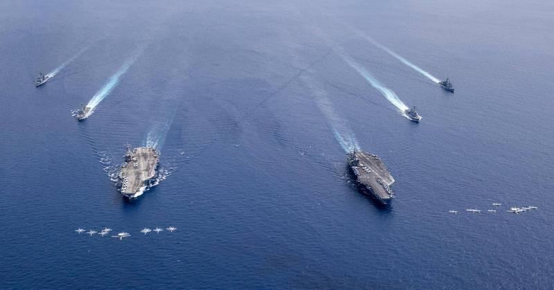 美國海軍今(3日)起至16日,展開1981年冷戰以來最盛大的「2021大規模演習」。圖為去年7月7日美國軍演。(法新社檔案照)