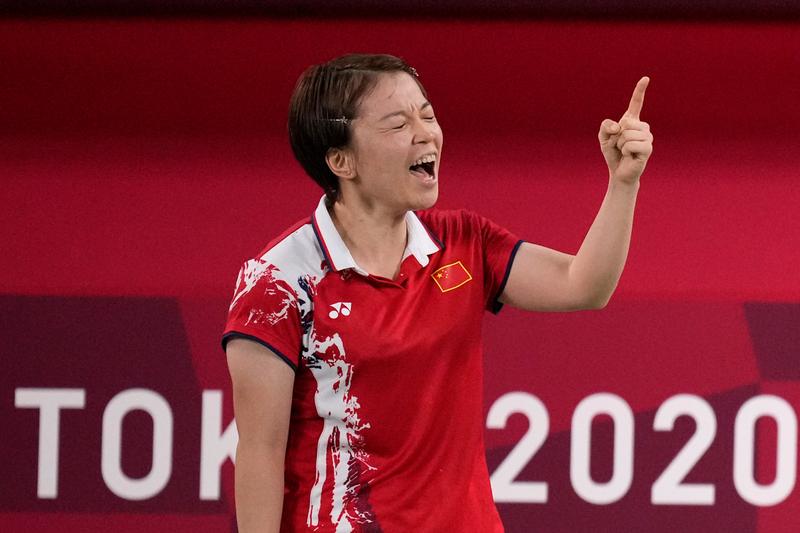 在比賽中大罵髒話而出名的中國羽球女雙選手陳清晨。(美聯社)