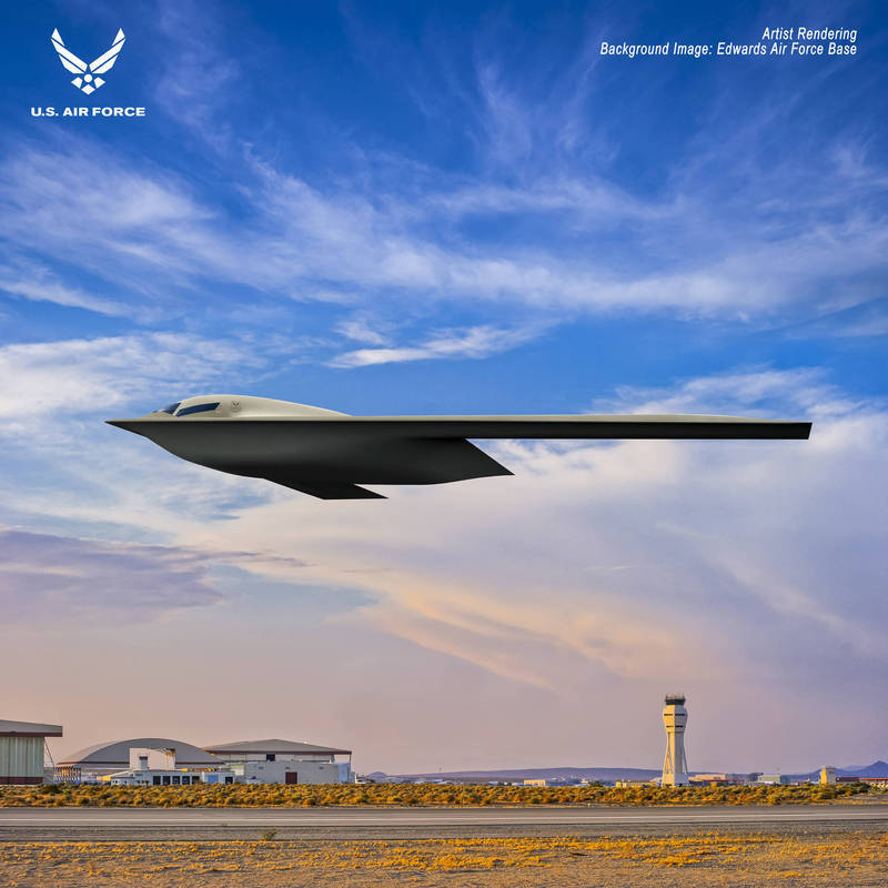 B-21「突襲者」(Raider)匿蹤轟炸機最新構想圖。(翻攝自美國空軍)