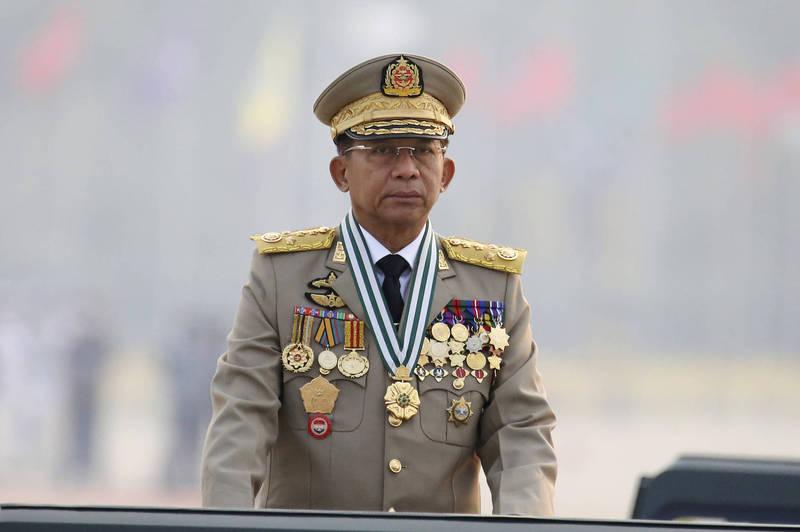 緬甸軍方領導人敏昂萊出任看守政府總理。(美聯社)