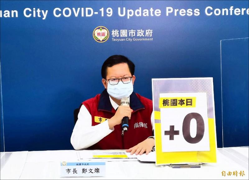 市長鄭文燦昨天宣布,將比照中央加發確診死亡個案10萬元慰問金。 (記者陳恩惠攝)