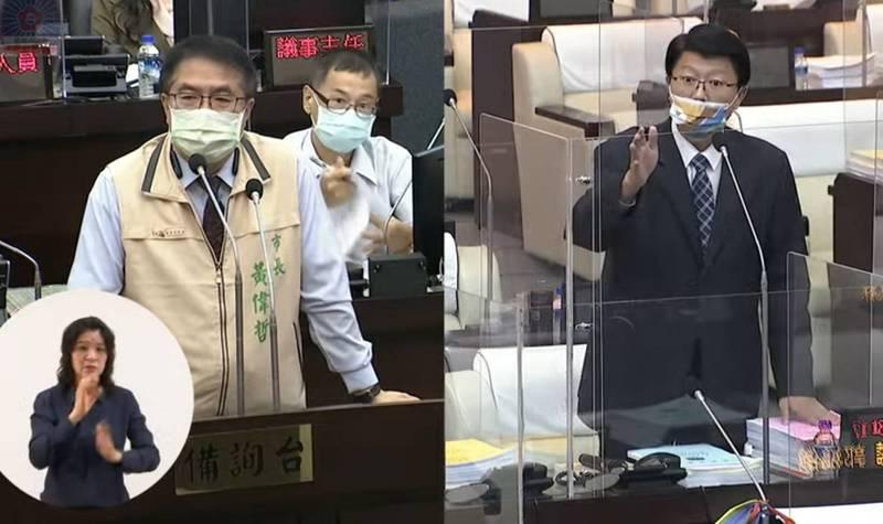 南市議員謝龍介(右)與市長黃偉哲(左)雙方被外界視為下屆市長的潛在對手,雙先未選在議會質詢雙先交手。(擷取自台南市議會直播畫面)