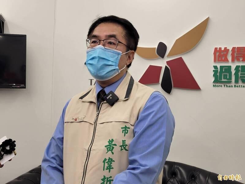 是否將謝龍介視為下屆市長選舉的最強假想敵,黃偉哲今天巧妙以東奧賽事做比喻。(記者王姝琇攝)