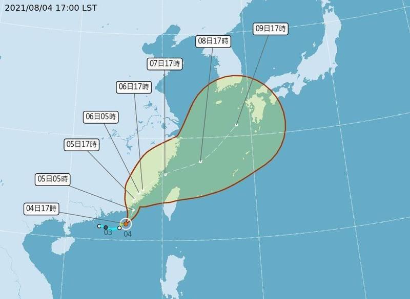 氣象局下午5點發布輕度颱風盧碧颱風潛勢預測。(氣象局提供)