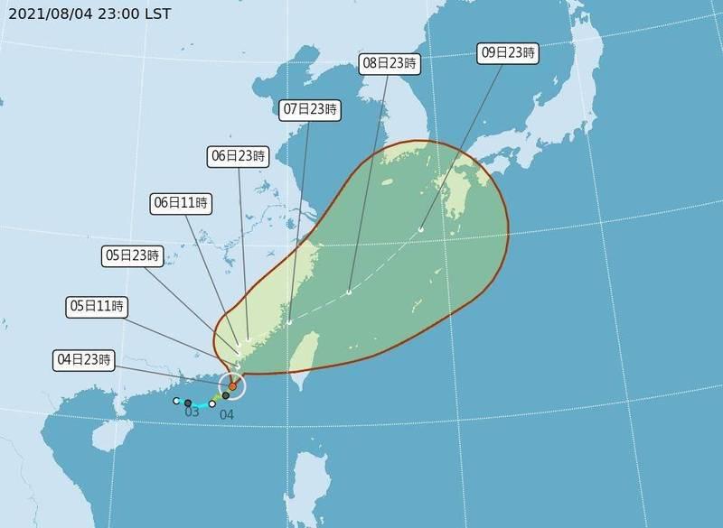 氣象局公布盧碧颱風4日晚上11點位置及颱風潛勢預測。(中央氣象局提供)