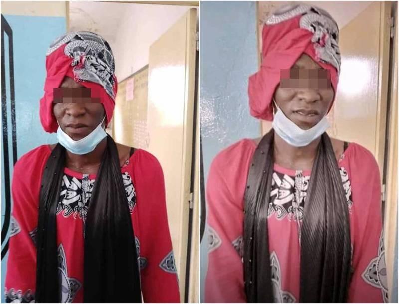 塞內加爾一名男大生扮女裝幫女友考試。(圖翻攝自推特)