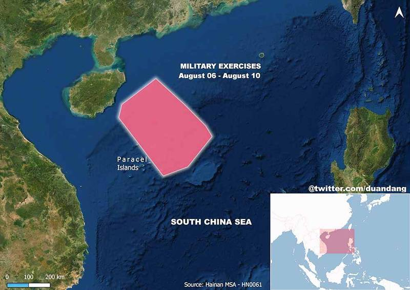 越南軍事記者段當(音譯,Duan Dang)在推特貼出中方演習範圍圖並表示,這次中國在南海畫出的演習範圍達10萬平方公里,「是我所看過最大的範圍」。(圖取自Duan Dang Twitter)