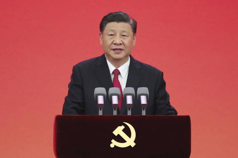 中國中央宣傳部門日前針對新聞敲詐與打擊假新聞專案,在北京召開視訊會議,圖為習近平。(美聯社)