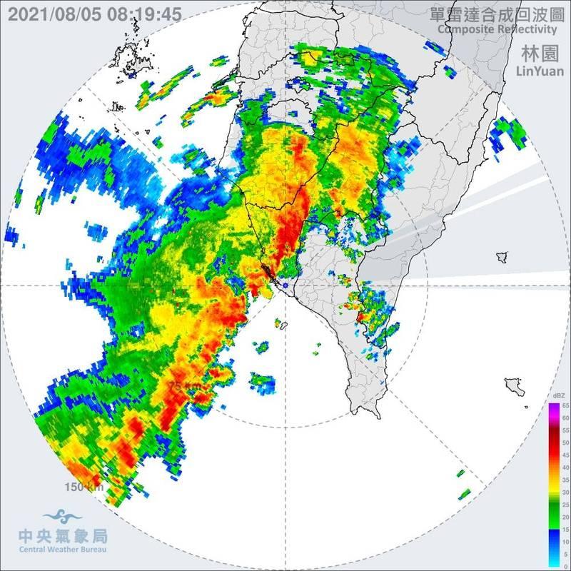 陳其邁po出雷達回波圖,顯示一波強降雨移入高雄。(翻攝陳其邁臉書)