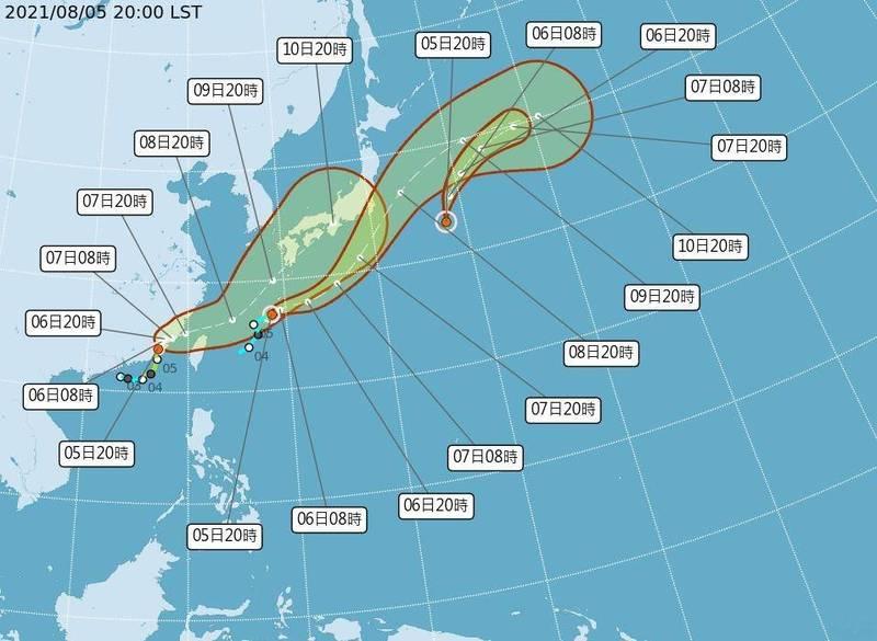 盧碧今天晚上8時的中心位置在北緯24.0度,東經117.0度,以每小時6公里速度,向北北東進行。(中央氣象局提供)