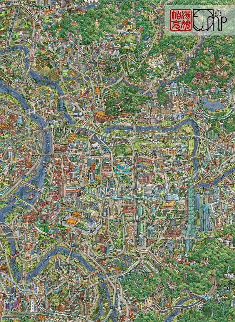Tom Park作品〈台北地圖〉。(Tom Parker授權提供)
