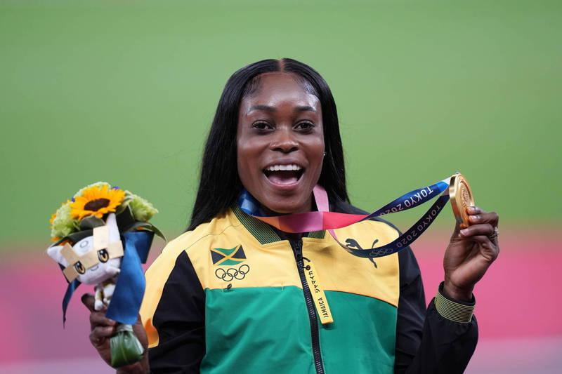 牙買加短跑選手赫拉接連贏得100、200公尺項目金牌。(歐新社)