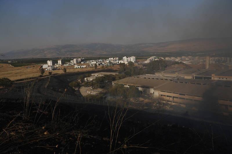 以色列遭從黎巴嫩發射的火箭攻擊。(歐新社)