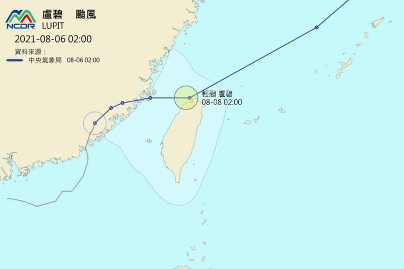 盧碧颱風在8日(週日)上半天可能接近台灣北方陸地。(圖擷自國家災害防救科技中心)