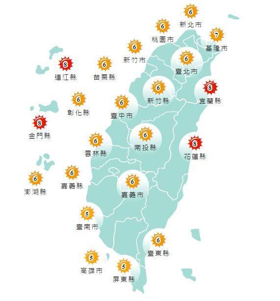 紫外線方面,明天宜蘭縣、花蓮縣、連江縣及金門縣為「過量級」,台南市、高雄市及屏東縣為「中量級」,其他縣市均為「高量級」。(圖擷取自中央氣象局)