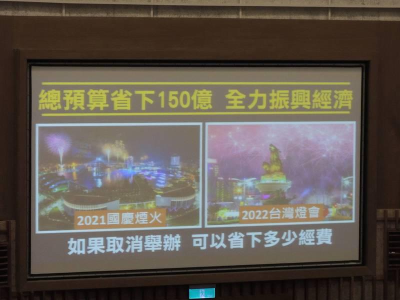 國民黨高市議員建議省下活動經費,全力振興經濟,並點名國慶煙火與台灣燈會。(記者王榮祥翻攝)