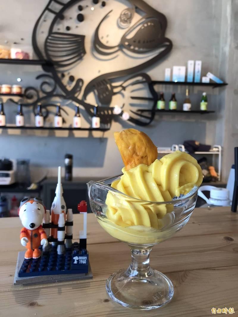 魚鱗膠原蛋白冰淇淋,加入在地特產愛文芒果。(記者陳彥廷攝)