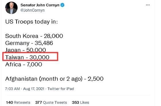 柯寧的推文提及美國「3萬兵力駐台」(紅線處),觸動中國官媒敏感神經。(翻攝自推特)