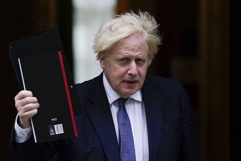 英國首相強森(見圖)表示,將在24日召集7大工業國集團(G7)領導人進行會談。(美聯社)