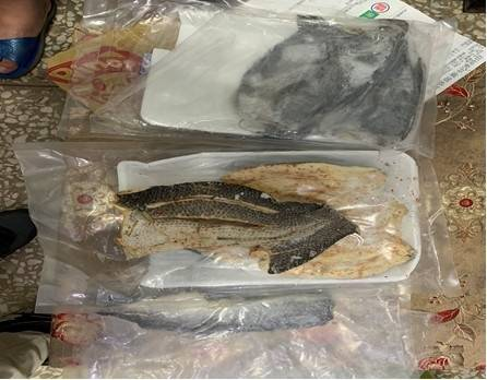 金人警方在姓收件人等2人包裹僅找到泡麵、醃漬魚品等物,並未發現豬肉。(金門縣政府提供)