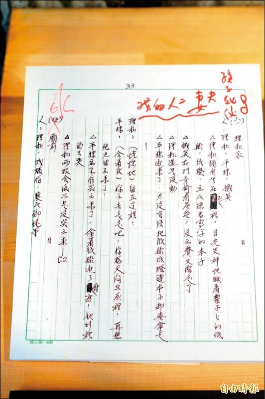 李行《原鄉人》的珍貴手稿重製品,是他於今年8月9日才授權。(記者陳彥廷攝)