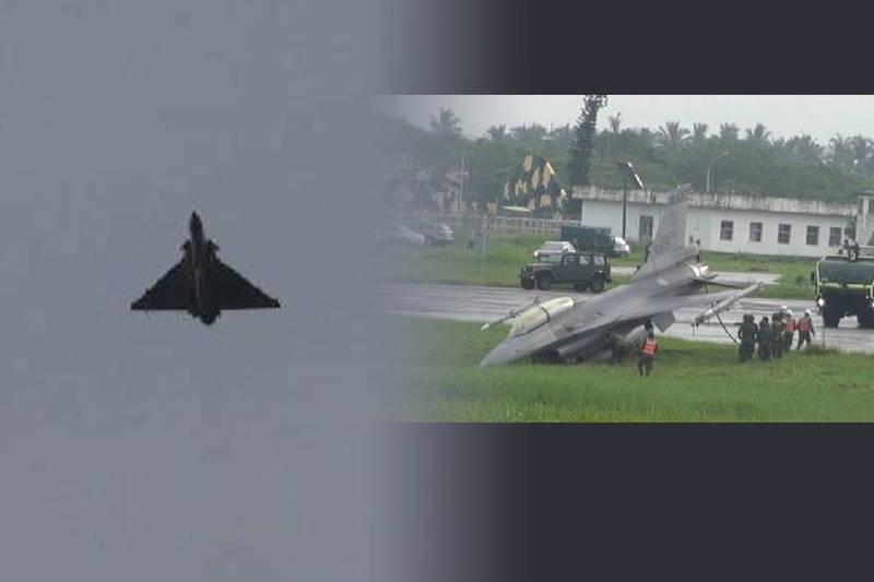 F-16發生衝出跑道意外,緊跟在後的幻象2000戰機見狀,趕緊拉起機身爬升,避開危險。(民眾提供,本報合成)