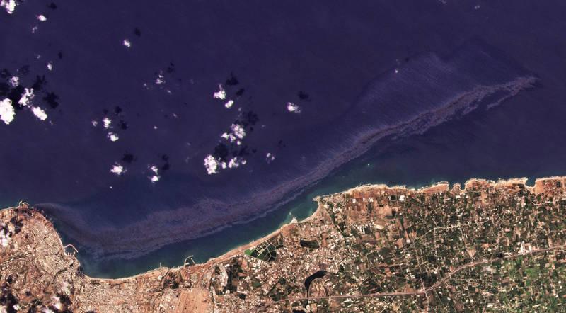 衛星影像顯示,敘利亞漏油事件比此前預估的還要嚴重。(美聯社檔案照)