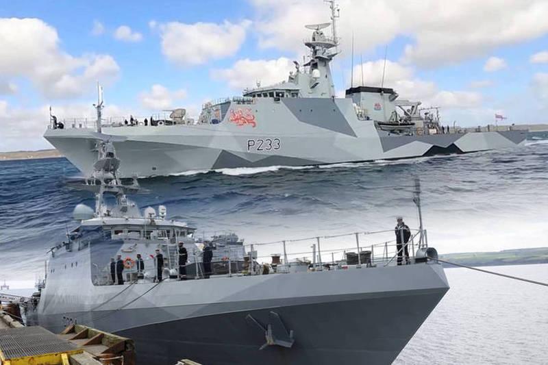 英國皇家海軍新型巡邏艦「添馬艦」及「史佩艦」(HMS Spey)於7日上午啟程前往印太區域,向國際社會發出訊號,英國將重回亞洲。(路透、歐新社,本報合成)