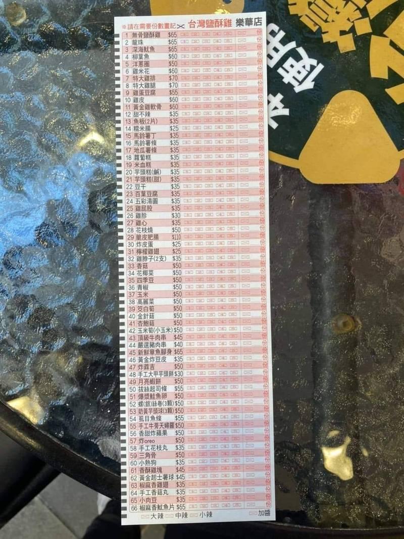 網友發現鹽酥雞店家的創意菜單竟是熟悉的「電腦閱卷答案卡」,笑說考試的壓力和回憶都上來了。(圖擷自臉書社團《路上觀察學院》)