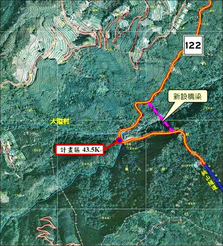 新竹縣政府計畫把南清公路43.5公里處截彎取直新建大橋,相關示意圖昨天出爐,今天下鄉舉辦說明會。(竹縣府提供)