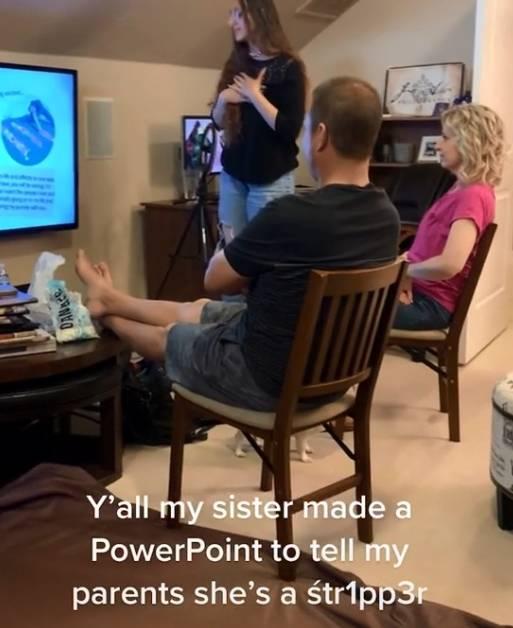 萊可絲製作簡報向父母坦承自己是「脫衣舞孃」。(圖取自TikTok/mildwestsami)