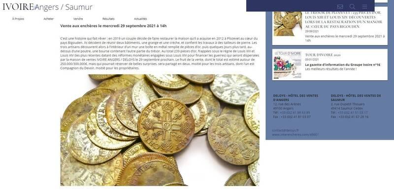 法國西北部普洛澤韋市1座莊園,日前發現239枚金幣,本月將拍賣,估價上看30萬歐元(約新台幣982萬2924元)。(圖翻攝自官網)