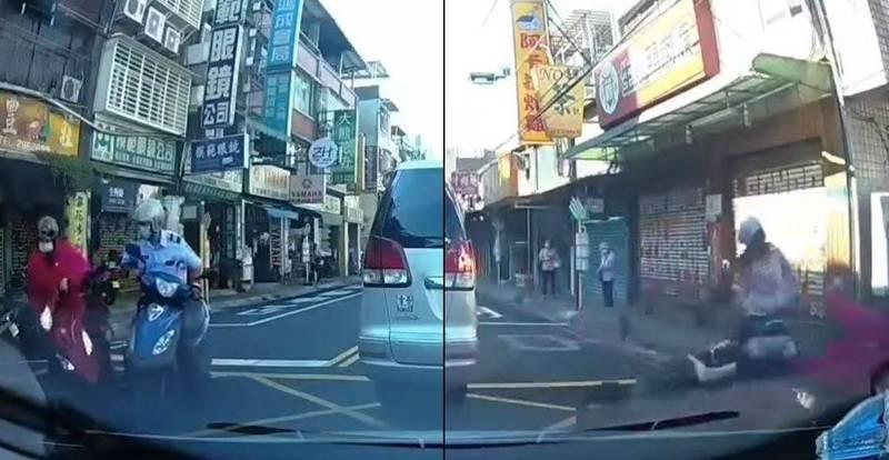 新北市1名婦人日前騎乘機車,未注意後方來車就直接穿越車道左轉,造成另名騎士輕微碰撞,婦人事後繼續轉向至對向車道,又未注意後方來車當場被撞上。(圖取自爆廢公社)