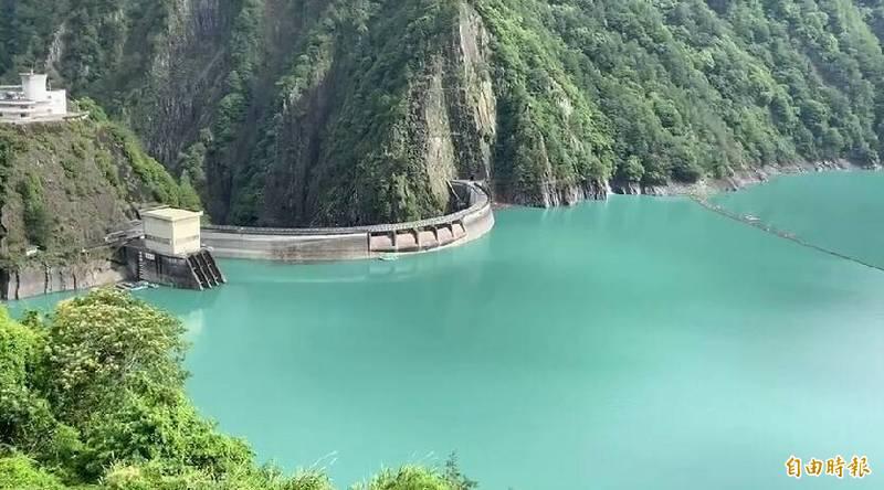 德基水庫9月份蓄水率維持9成以上。(記者張軒哲攝)