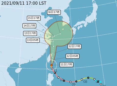 璨樹颱風潛勢路徑預報圖。(圖:取自氣象局網站)