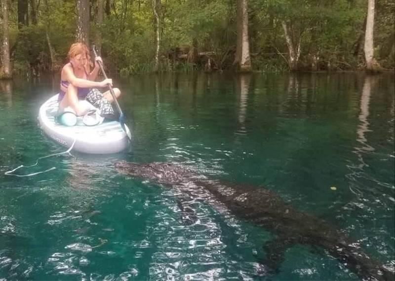 美國女子貝克(見圖)在河中划船時,一名鱷魚不斷接近她,她只好用船槳將鱷魚趕走。(圖擷取自Vicki Reamy Baker臉書)