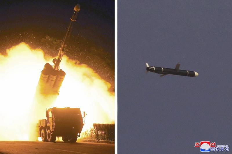 北韓官媒消息指出,北韓於11日及12日進行一款新型遠程巡弋飛彈試射,令人注意的是,在北韓官媒報導中,北韓領導人金正恩並未出現在視察飛彈試射的名單中。(路透)