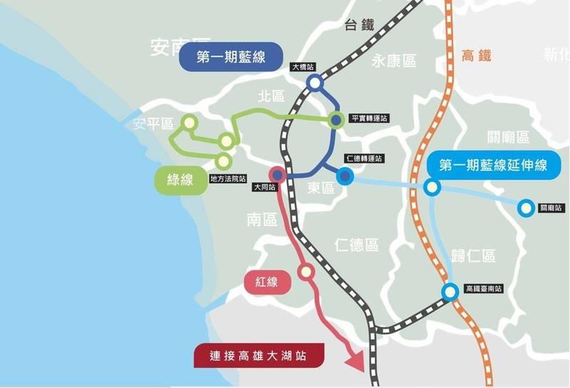 台南捷運優先路網示意圖。(擷自「台南捷運網站」資訊平台)