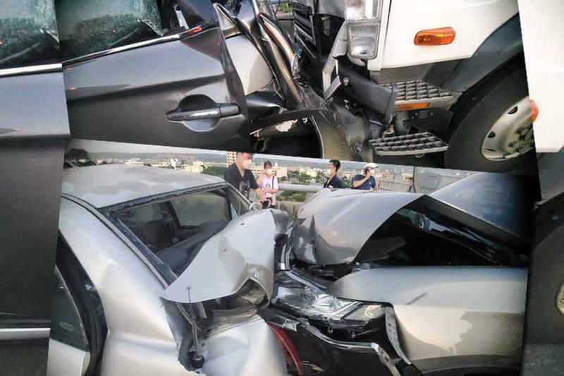 目前有3人受傷送醫救治,有幾輛轎車遭到夾擊,車頭幾乎全毀。(民眾提供,本報合成)