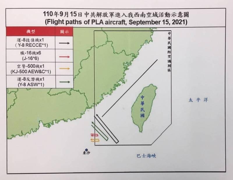 中共今日派9架次軍機進入我西南空域防空識別區。(國防部提供)